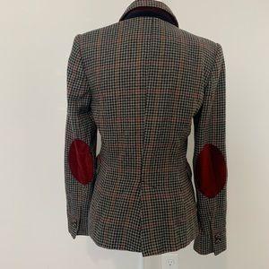 Zara wool blend plaid checkered elbow patch blazer